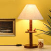 Picture of Wooden Table Lamp Engraved Parrot