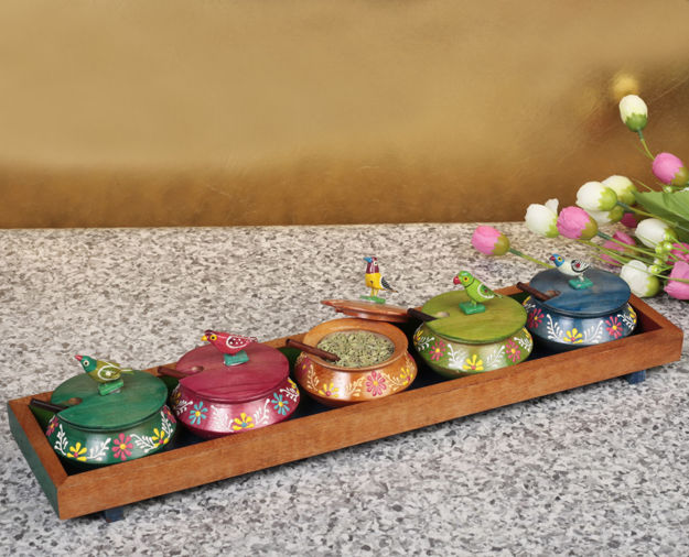 Picture of Multicoloured Emboss Hand Painted Parrot Jar Set With Tray And Spoon