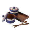 Picture of Terracotta Pickle Jar Set of 2 With Sheesham Tray And Spoon (Blue)
