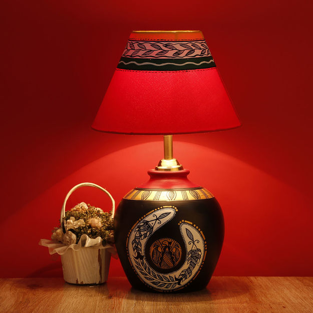 Picture of Terracotta Table Lamp Madhubani Shimmers