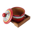 Picture of Terracotta Pickle Jar Set With Sheesham Tray And Spoon (Red)