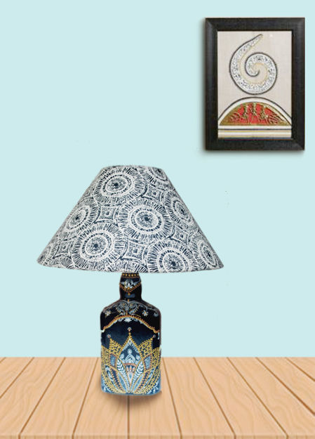 Picture of Bottle Lamp Hand Painted Lotus Jewel