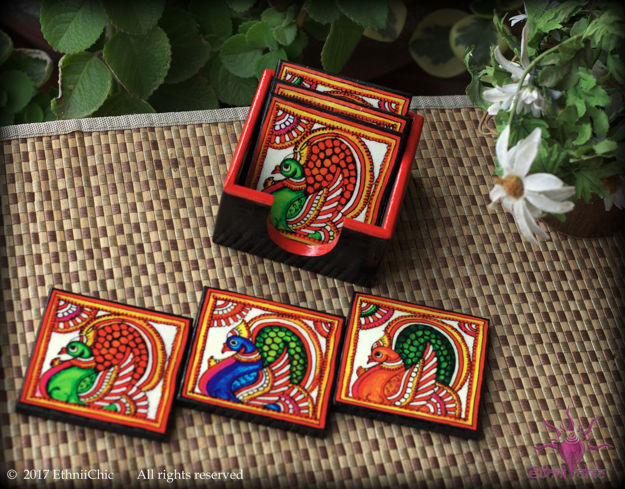 Picture of Tea Coasters - Tholu Peacock (Set of 6)