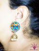 Picture of Earrings with hanging Jhumka - Mural Design (Handpainted Blue)