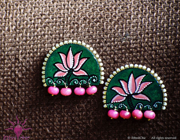 Picture of Earring Studs with Pink Beads - Lotus Design (Handpainted Green)