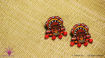 Picture of Earring Studs with Red Agate Beads - Thaiyam Design (Handpainted Red)