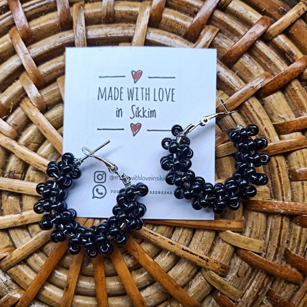 Picture of Black Clustered Hoops Earring