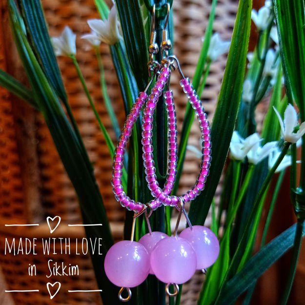 Picture of Pink Hanging Beads Earring