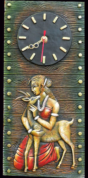 Picture of Terracotta Wall Clock (Lady & Deer)