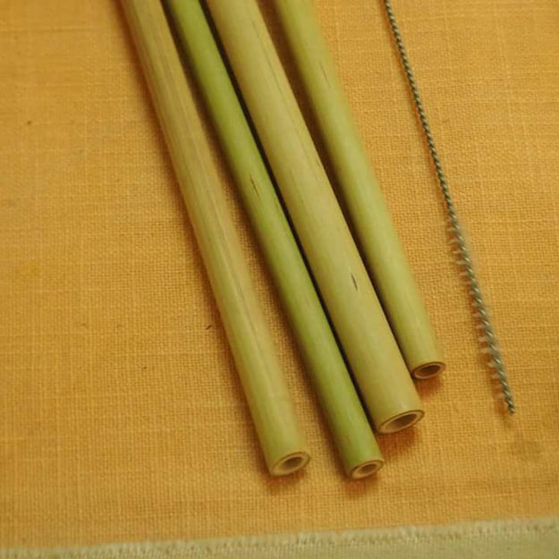 Picture of Bamboo Straws with Stainless Steel cleaner (Pack of 4)