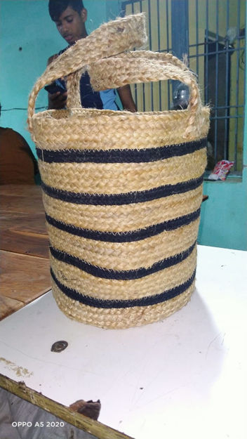 Picture of Jute Bag Braided- Black and Natural Jute color