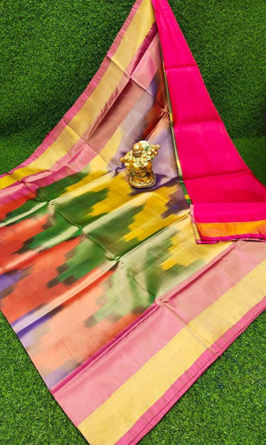Picture of Uppada Soft Silk with ikkath Design Sarees